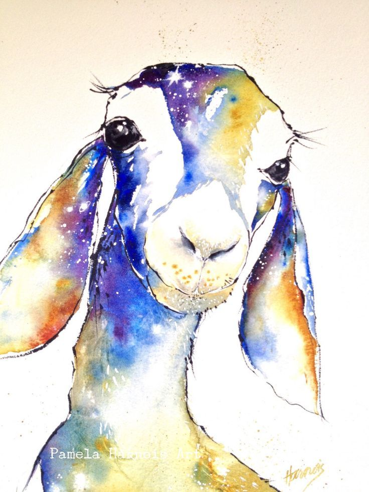 GOAT Watercolor Art Print, Animal Painting, Baby Shower
