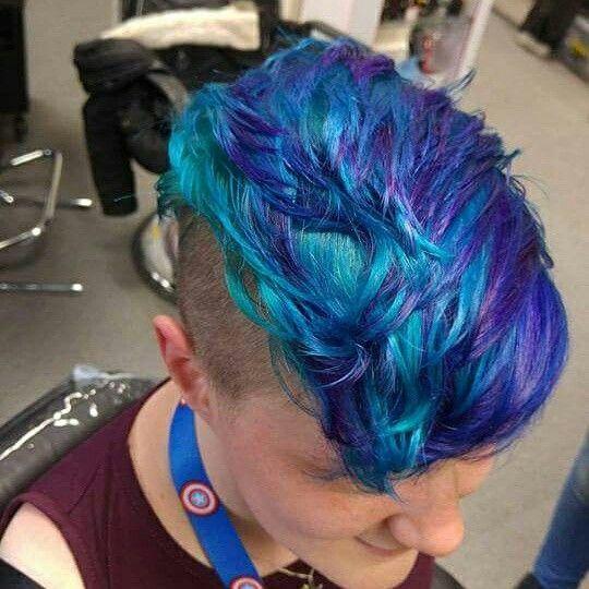 Hair Hairstyle Pixiecut Pixie Undercut Shaved Short Blue