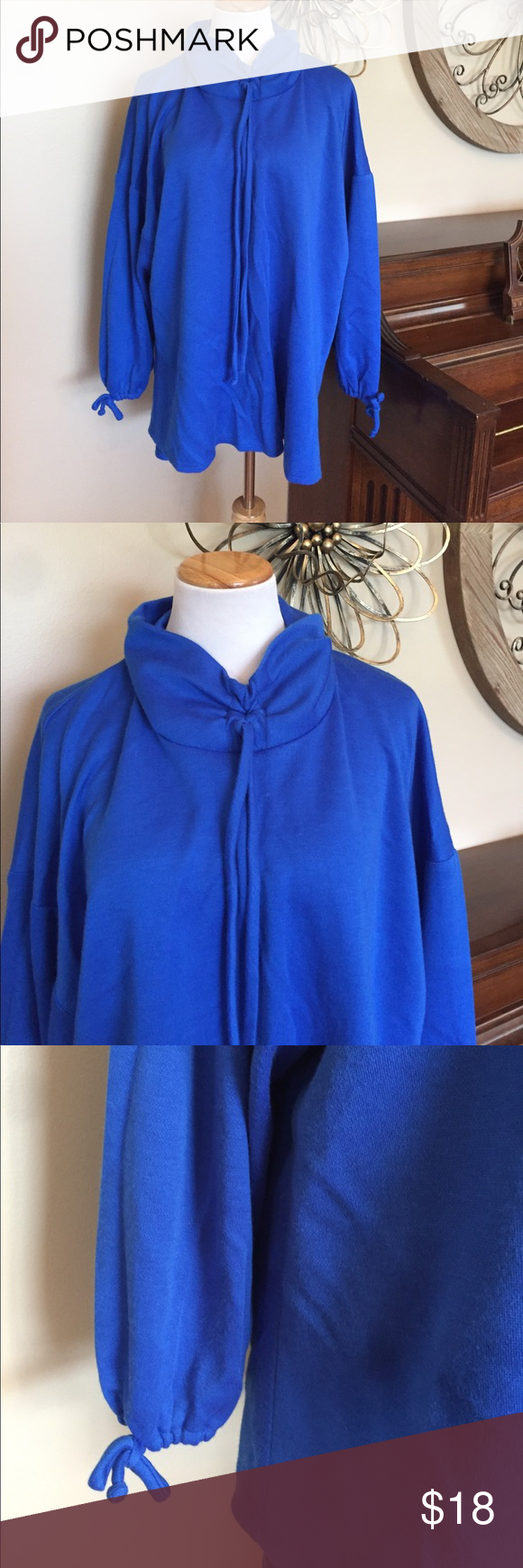 Fresh Ideas CA Size 24W Cowl Neck Royal Blue Top Excellent Condition! Cute Cowl Neck! 90% Acrylic 10% Polyester- Made in the USA 🇺🇸 Fresh Ideas California Tops