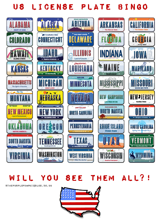 Us License Plate Bingo Free Printable Free Travel Printables