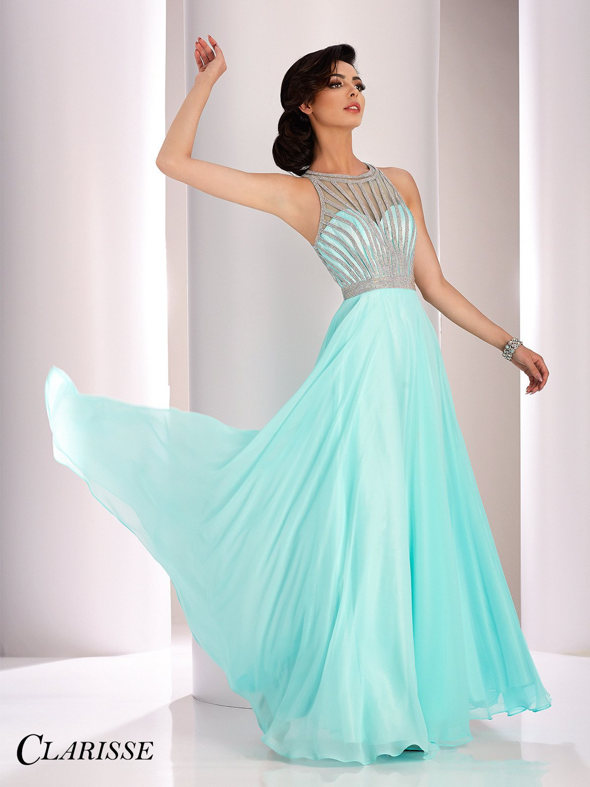 Clarisse Prom 3068 Seafoam Open Back Chiffon Prom Dress | Products ...