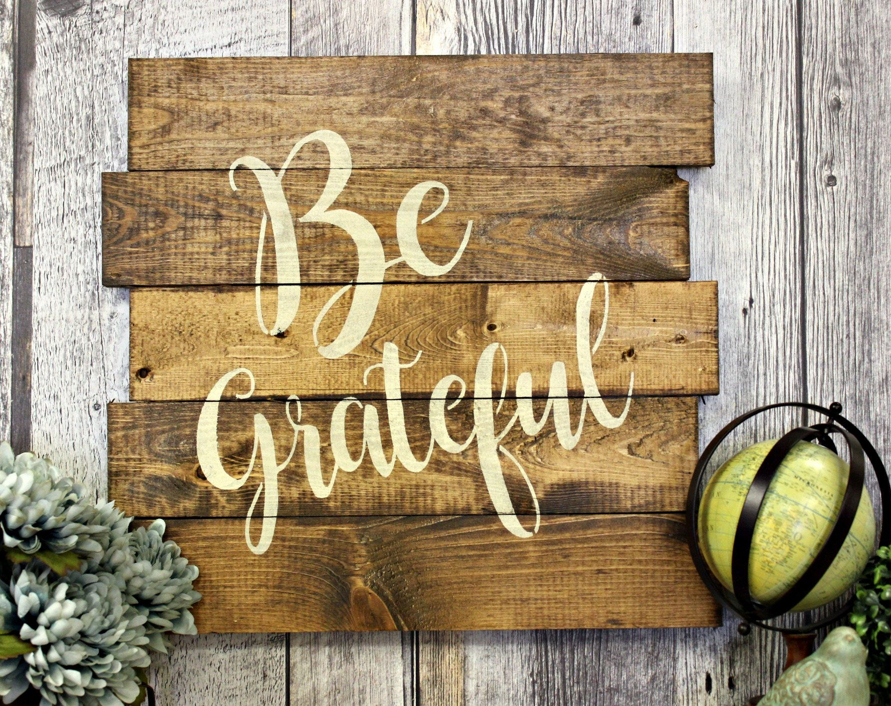 Be Grateful. Rustic Decor. Wood Sign. Country. Wall Decor. Living ...