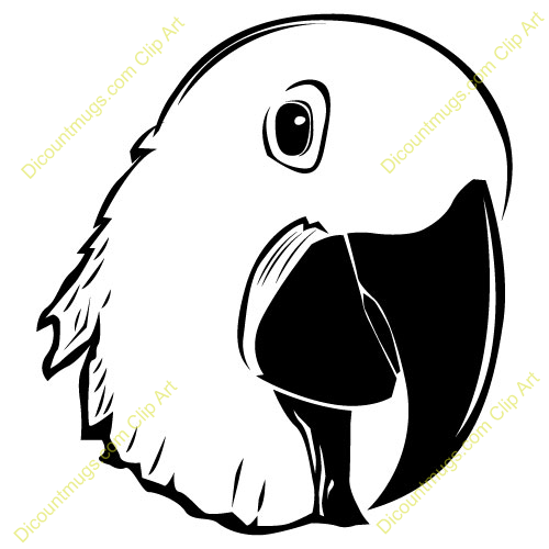 Clipart 11789 parrot face - for koozies