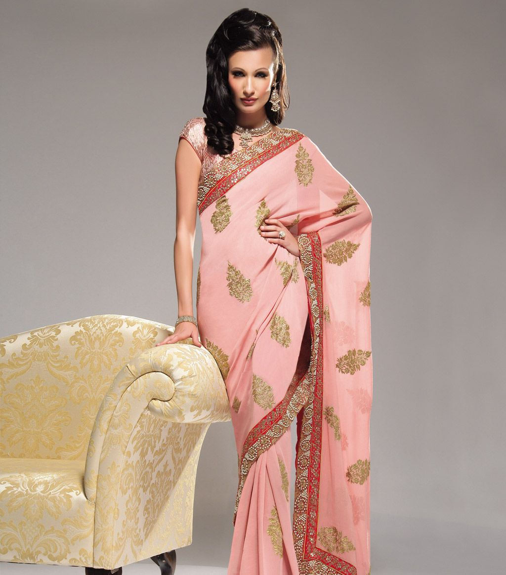 Salmon Pink/red pearl saree  loveeee. id wear it in red and white.