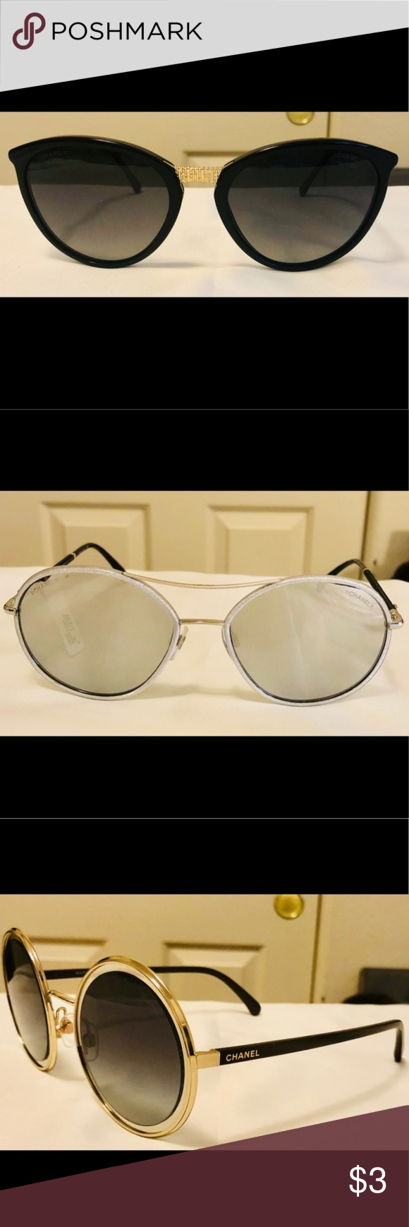 85702449ba455 Trade For Samiamatha Only Black CHANEL 5382 Sunglasses (new with defect)  NWT Pilot Chanel Silver Mirrored Sunglasses 4228-Q New CHANEL Gold Round  Sunglasses ...