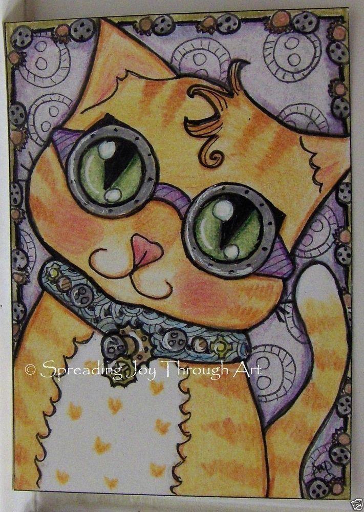 ACEO TW NOV Original Joy Steampunk Cat Kitten Kitty Goggle Sprocket Gear Cute #Myown