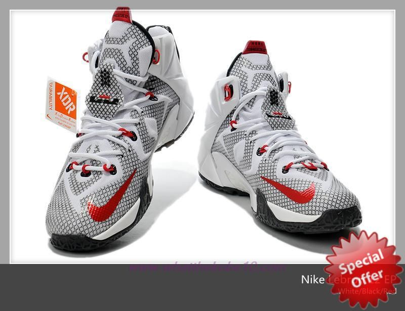 684593-159 Nike Lebron 12 White/Black/Red