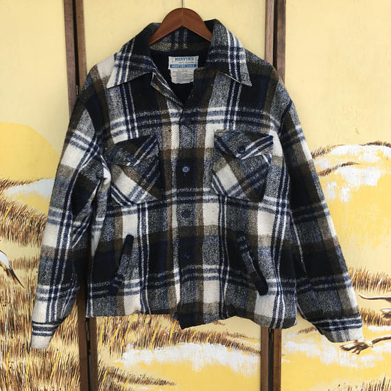 Gray Wool Plaid Coat 70s Gray Plaid Wool Coat with Fringe