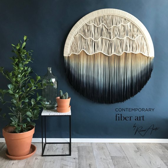 "Round Macrame Wall Hanging – Circle Tapestry – Available in different sizes – ""Seaside"""