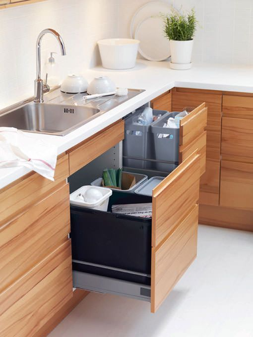 Reciclar la basura reciclaje basura pinterest for Cubo basura extraible ikea