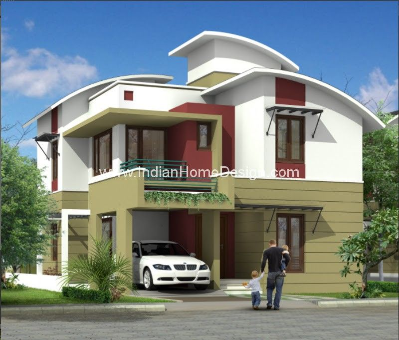 Plan And 3D View Of 2233 Sqft Modern Contemporary Villa