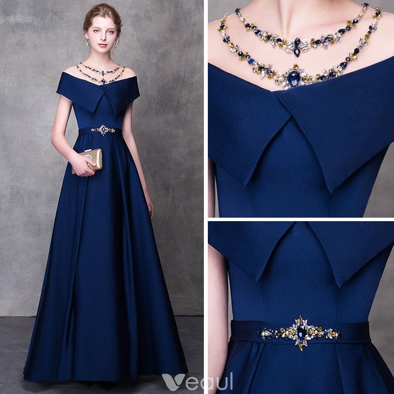 Modern / Fashion Navy Blue Pierced Evening Dresses 2018 A-Line / Princess Beading Rhinestone Scoop Neck Short Sleeve Sash Floor-Length / Long Ruffle Backless Formal Dresses