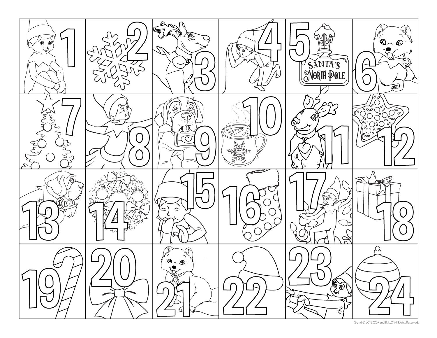 Pin By Ashley Eason On Elf Pets Advent Coloring Printable Advent Calendar Christmas Coloring Pages