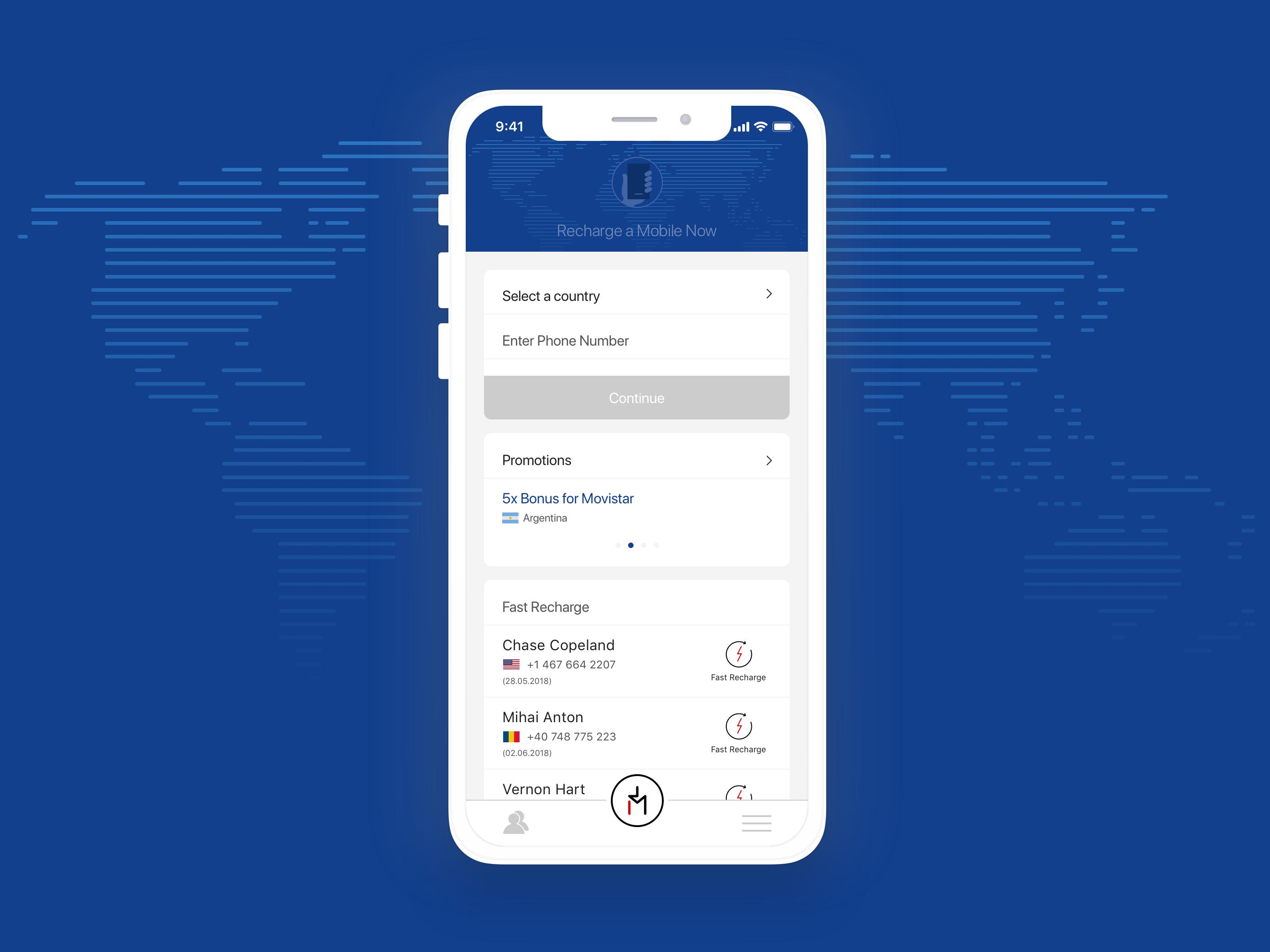 Mobile Recharge App - Home Screen | Telecom Apps | App home screen