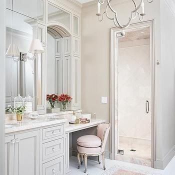 Pink And Gray Bathroom With Pink Marble Tile Floor Glamorous
