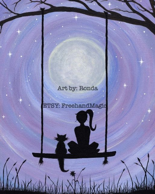 A Girl And Her Cat Sitting On A Swing Under The Full Moon