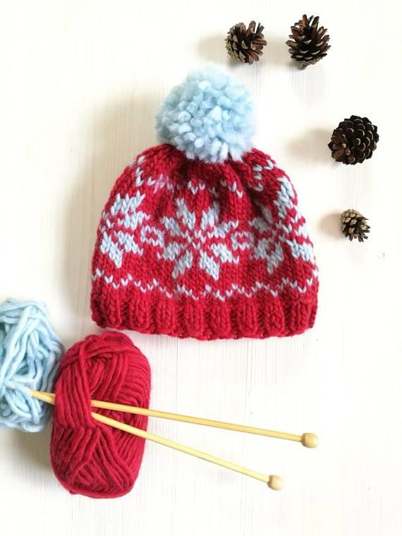 Wool hat knitted hat Christmas hat Fair isle knit winter | Scraps ...