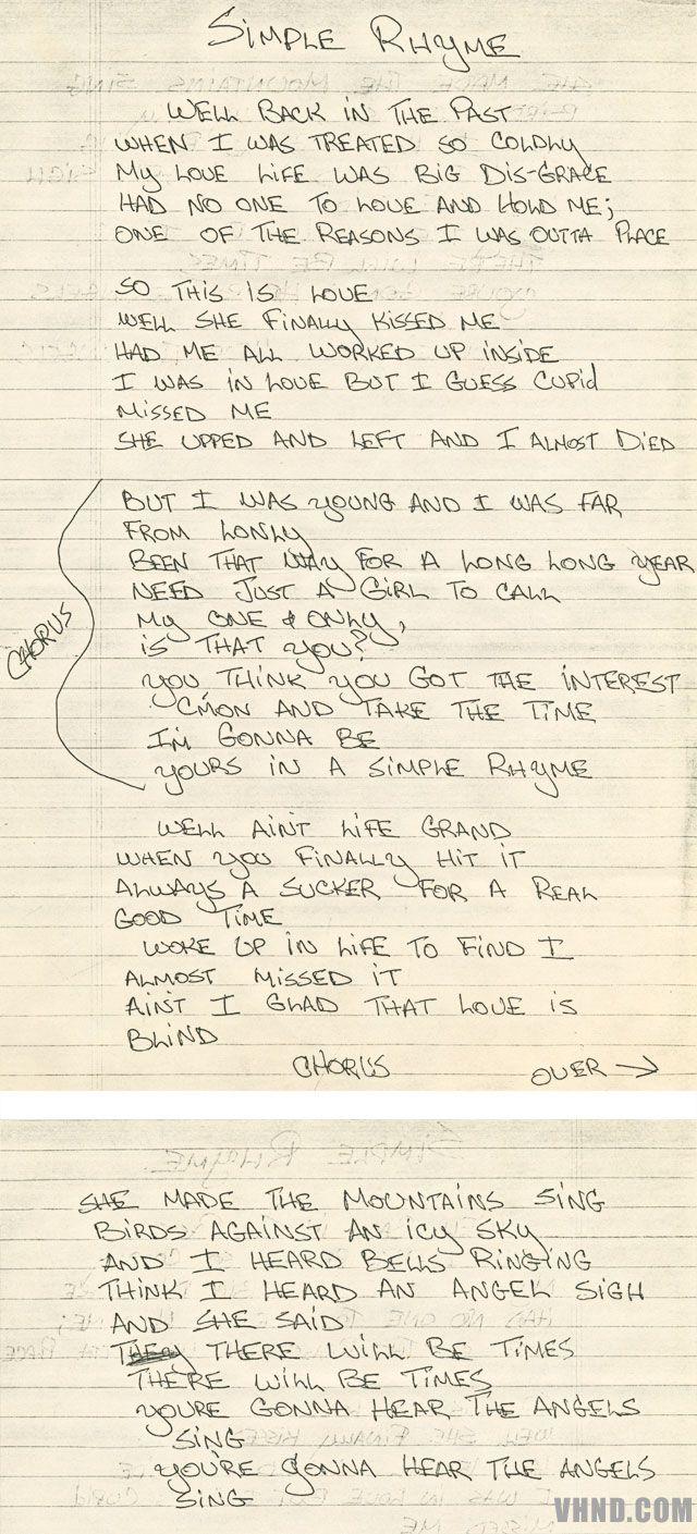 Dave S Handwritten Lyrics Van Halen Classic Songs Best Rock Bands