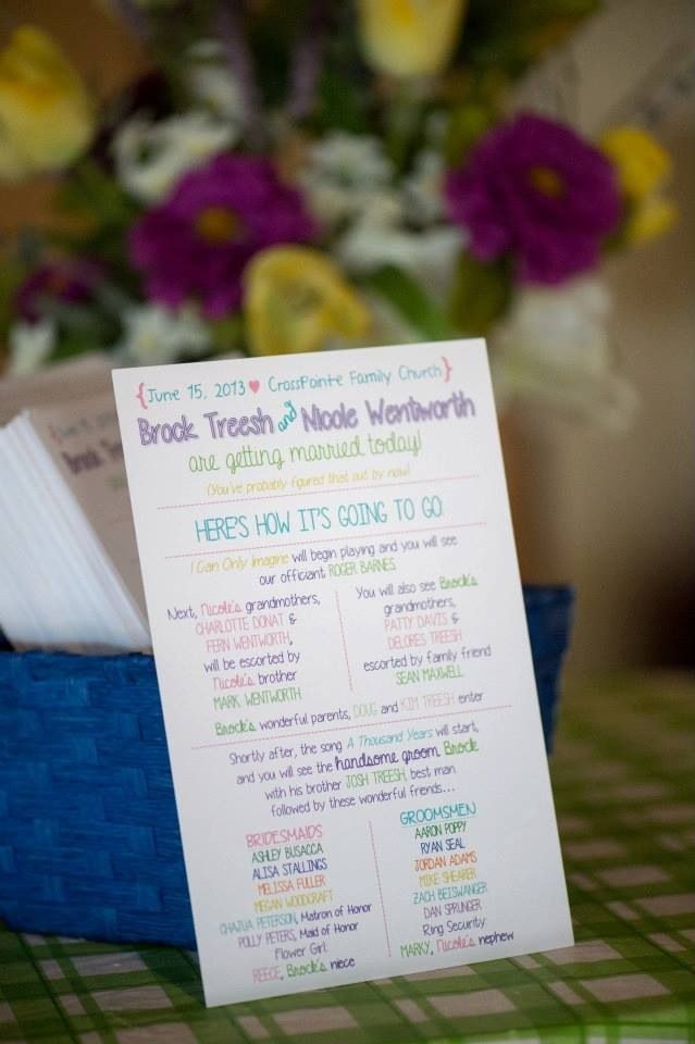 Designed This Wedding Program Inspired By A Template Printed With Vistaprint For Crazy Cheap And They Look Amazing Colorful Diy Wedding Programs Cheap Wedding Programs Wedding Programs