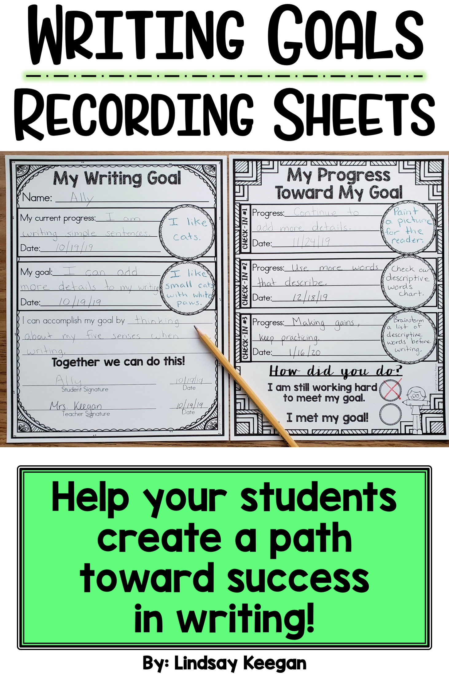 Writing Goals Recording Sheets In
