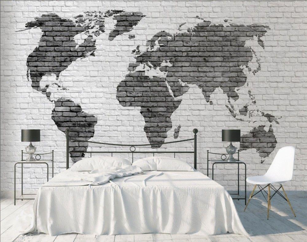 Best Black White Brick World Maps Wallpaper Mural World Map 400 x 300