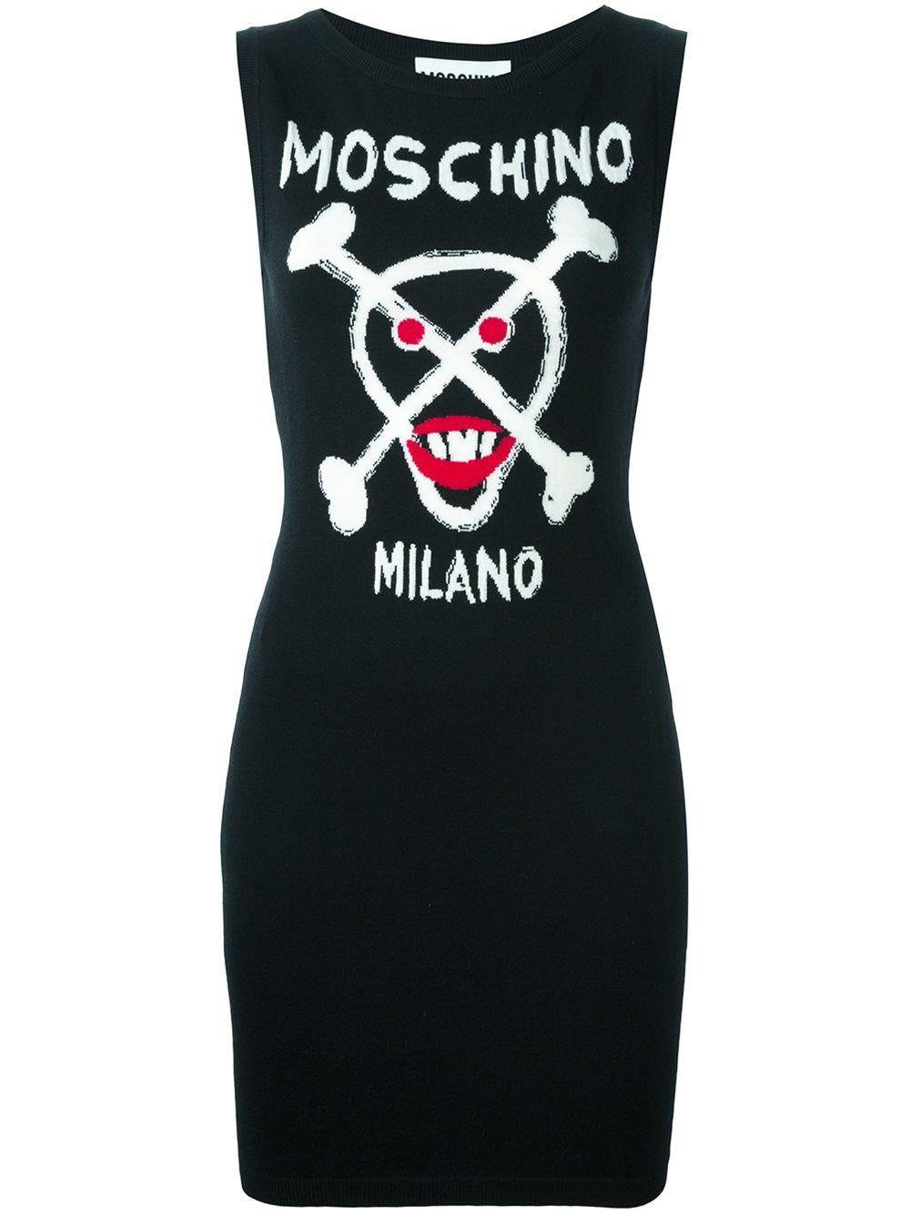 e3c9f613194 Moschino skull intarsia knitted dress