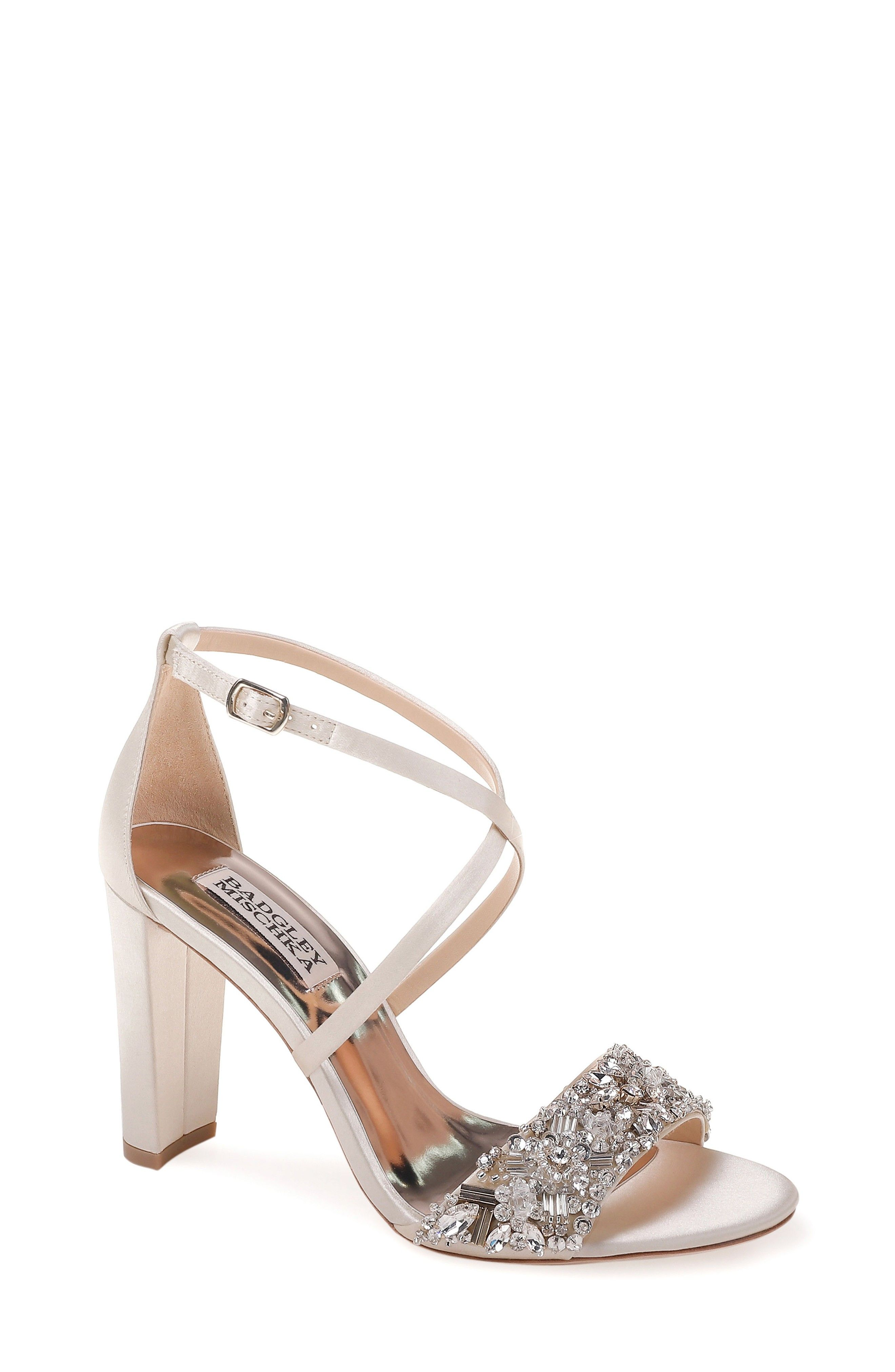 Block heel embellished wedding shoes ad weddingshoes