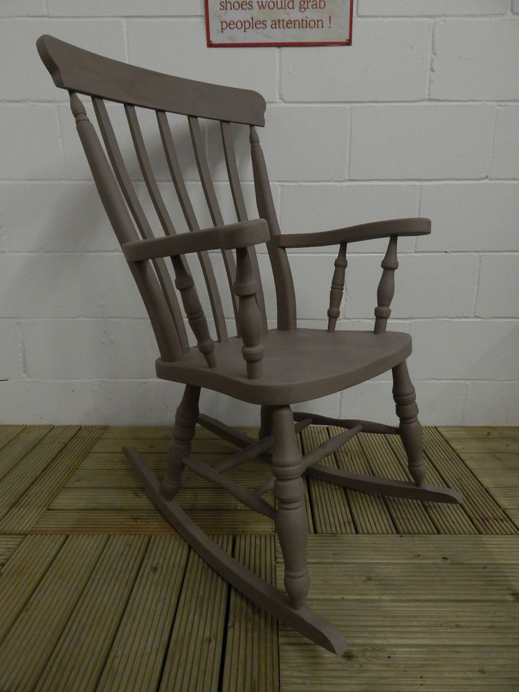 Lovely Large Solid Beech Rocking Chair Painted With Annie