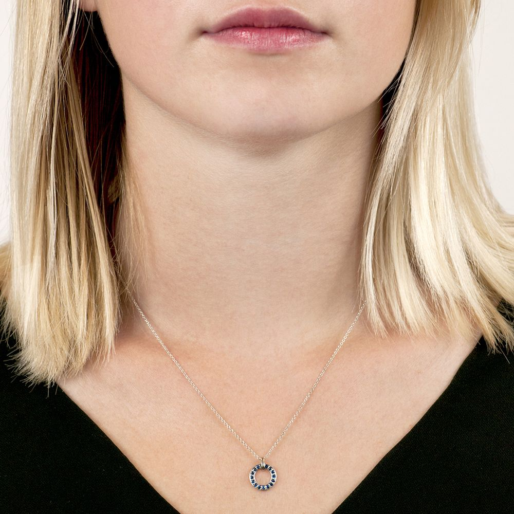 Circle Meridian White Gold Sapphire Pendant Necklace