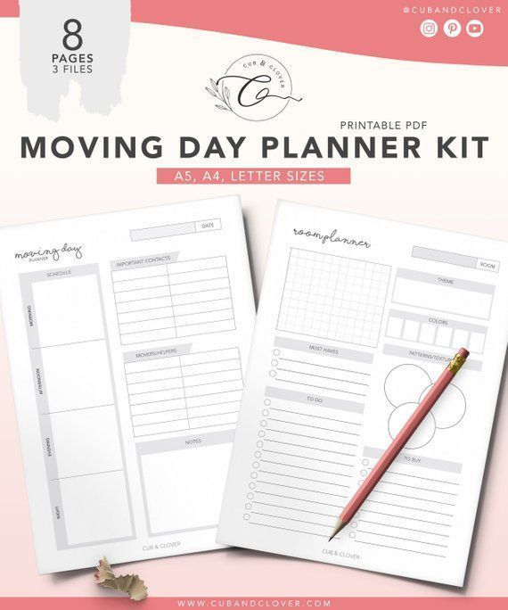 MOVING DAY PLANNER Kit | Printable | Household Planner, Cleaning Planner, Moving Announcements, New Home, Moving Checklist, Room Planner