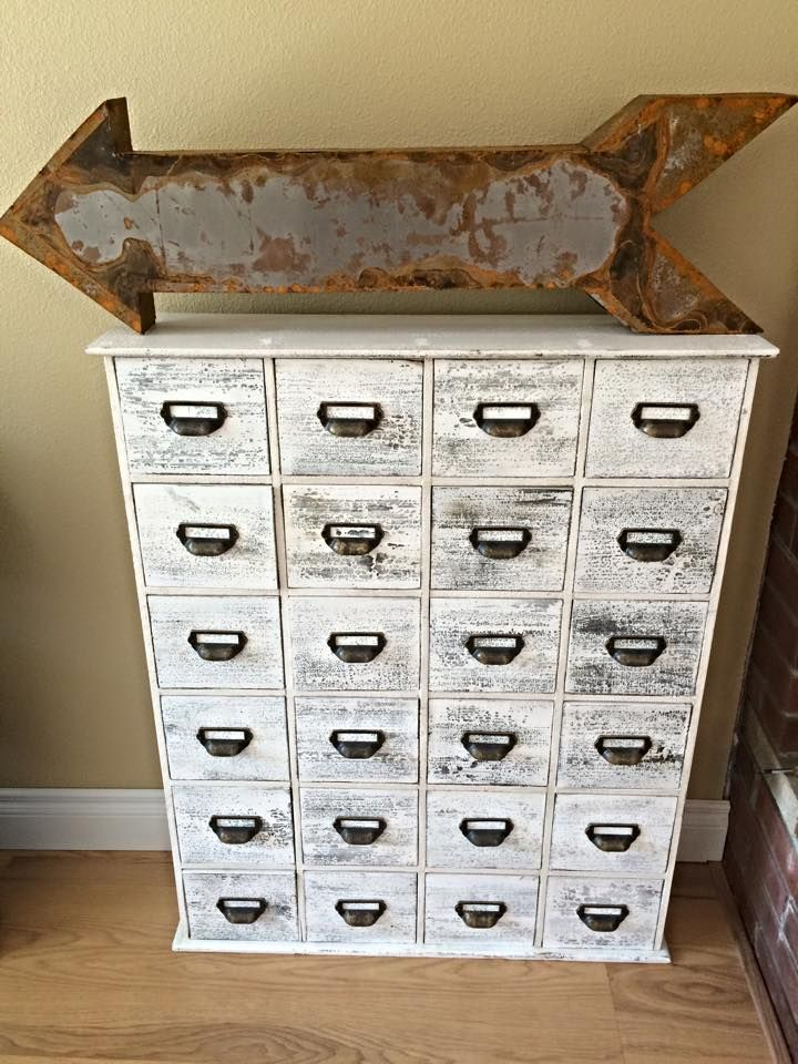 24 Drawer Cabinet In Distressed Cream With Rustic Library Card Catalog Style Drawer Pulls