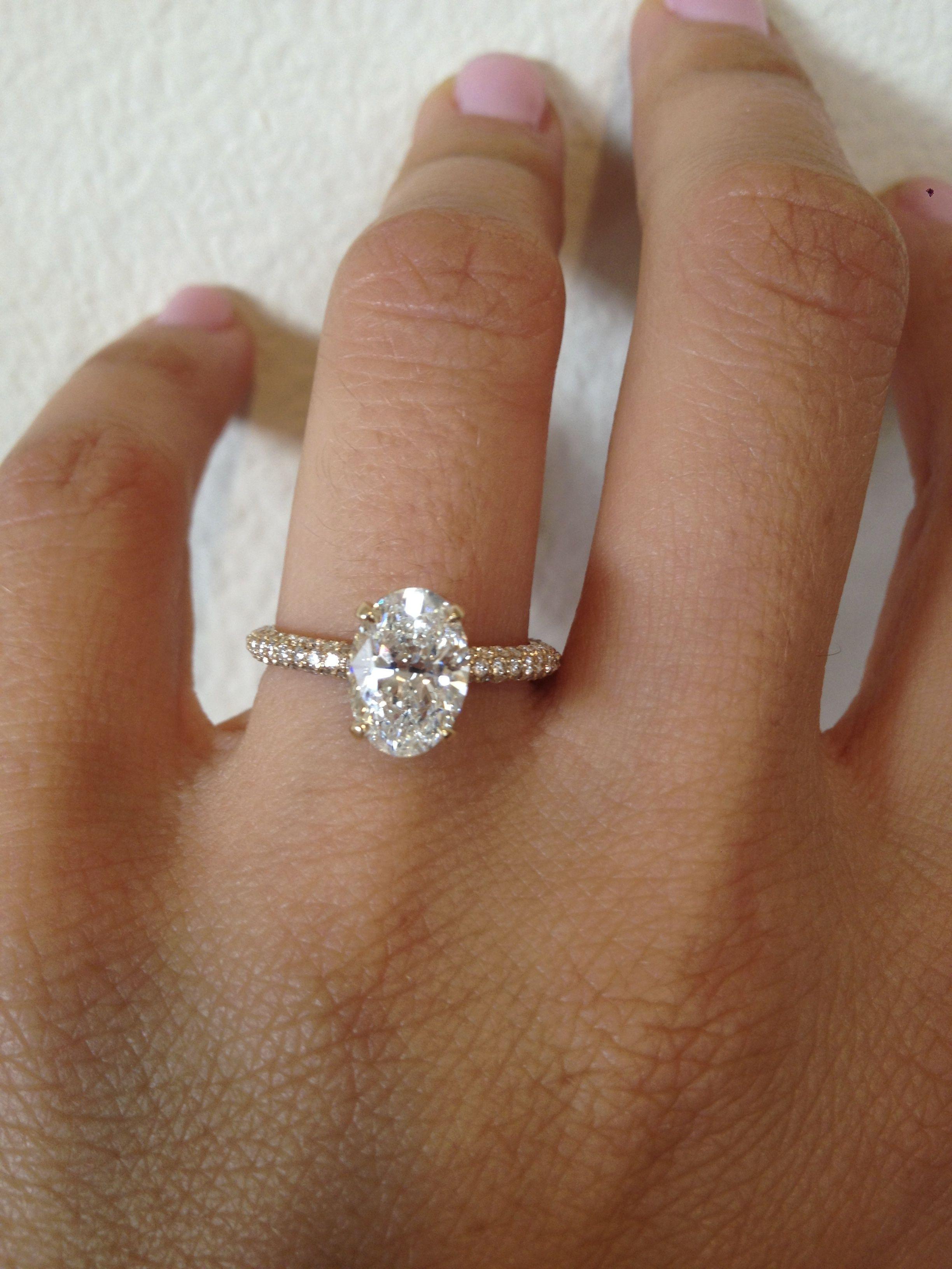 Oval  Diamond  Micro Pave  Thin  Platinum  Bridal  Wedding   Engagement