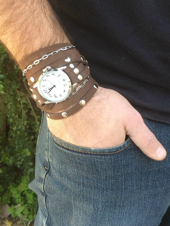 Mens Wrap Watch In Brown-Rock Style Watch-Watch-Men Watches-Bracelet Watch-Rock Style-Mens Watch-Watch For Men-Brown Mens Wrap Watch