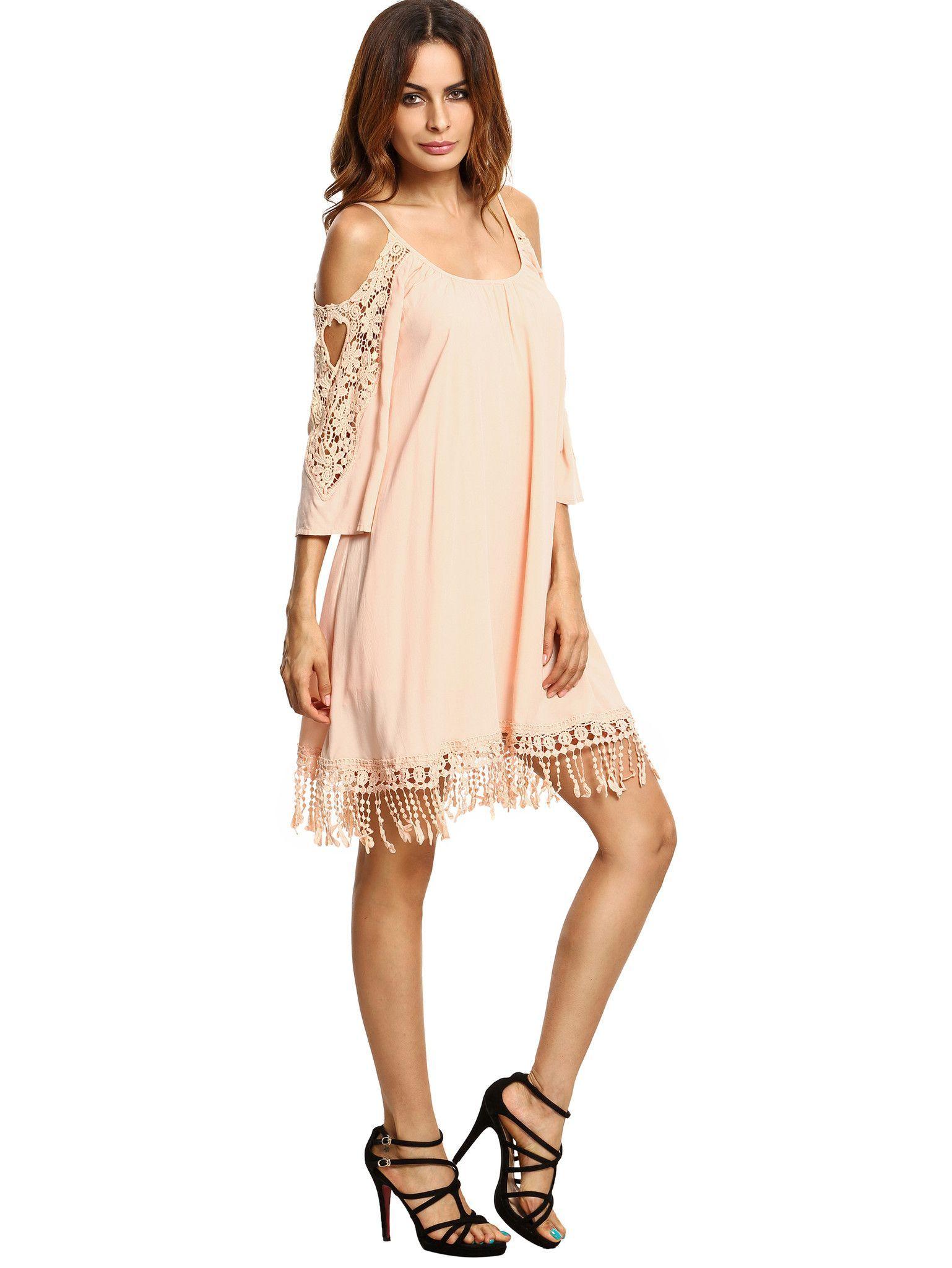 082efe262735 Apricot Crochet Lace Sleeve Tassel Dress Smukke Kvinder