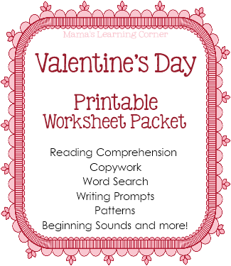 valentine s day worksheet packet from mama 39 s learning corner comprehension writing prompts. Black Bedroom Furniture Sets. Home Design Ideas