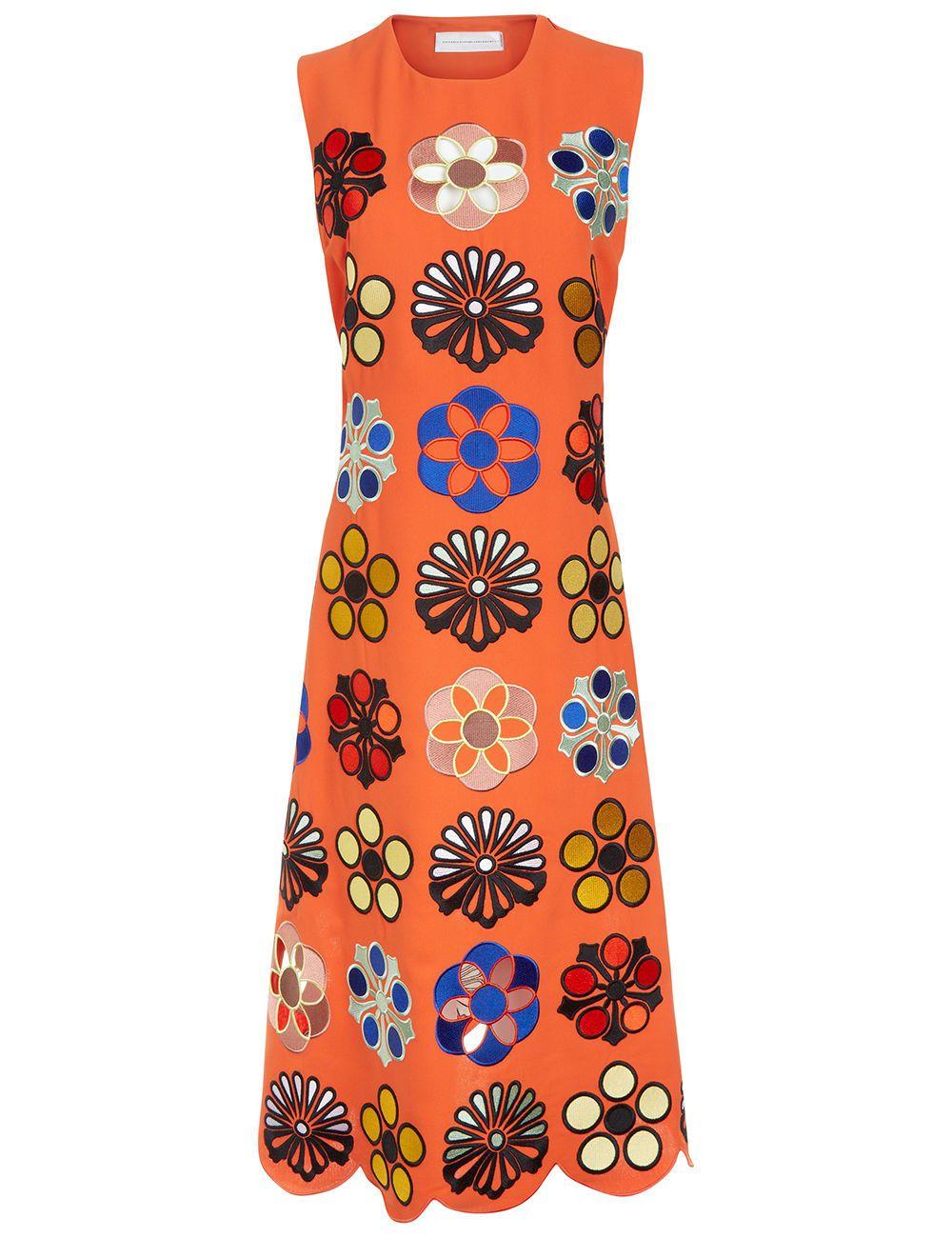 5a39a25ef VICTORIA VICTORIA BECKHAM Orange Crepe Embroidered Shift Dress.  #victoriavictoriabeckham #cloth #dress
