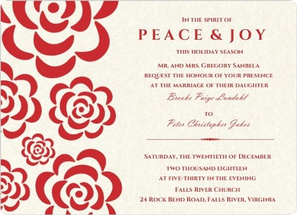Red Flowers Winter Holiday Wedding Invitation by WeddingPaperie - invitation template online