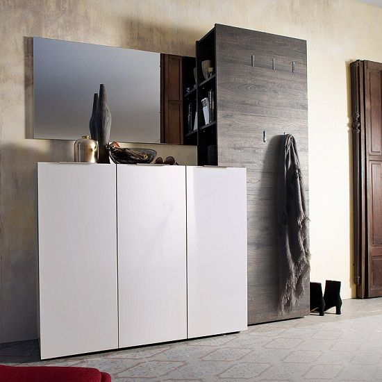 Garderobenmöbel Modern Genie Hallway Furniture Set 4 In White High Gloss And
