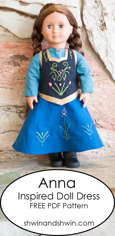 Anna Inspired Doll Dress Pattern #dolldresspatterns