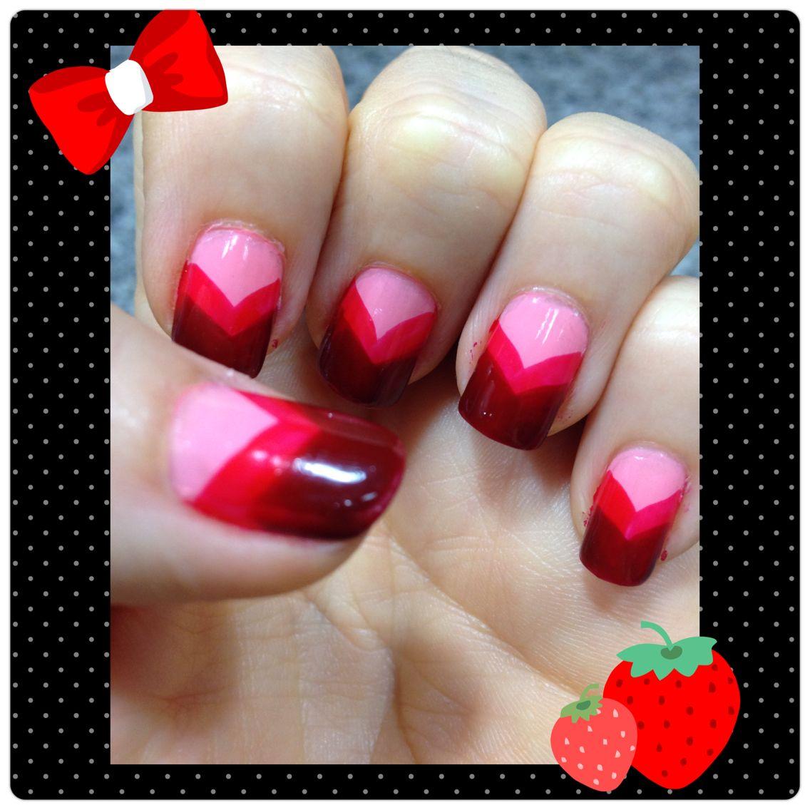 Diseño tricolor con color rosa,rojo y vino.