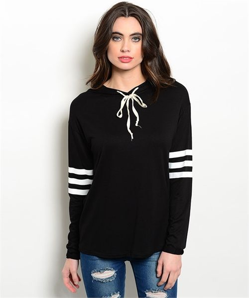 #hoodie #casualtop #stripedtop | Women's Black Athletic Striped Hoodie Top | Cali Boutique | FREE U.S. shipping!