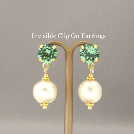 MiyabiGrace:Erinate Swarovski Crystals and Light Beige Cotton Pearl Invisible Clip on Earrings for non pierced ears, Wedding Pearl Clip on Earrings #コットンパール #コットンパールノンホールピアス #InvisibleClipOnEarrings #CottonPearlEarrings #PearlEarrings #SwarovskiEarrings #CottonPearlClipOnEarrings #NonPiercedEarrings #SlipOnEarrings #PearlClipOnEarrings #SwarovskiClipOnEarrings #PearlSlipOnEarrings #PearlNonPiercedEarrings #EarringsforNonPiercedEars