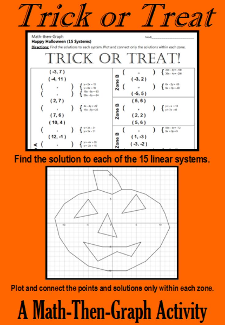 Trick or Treat - A Math-Then-Graph Activity - Solve 15 Systems