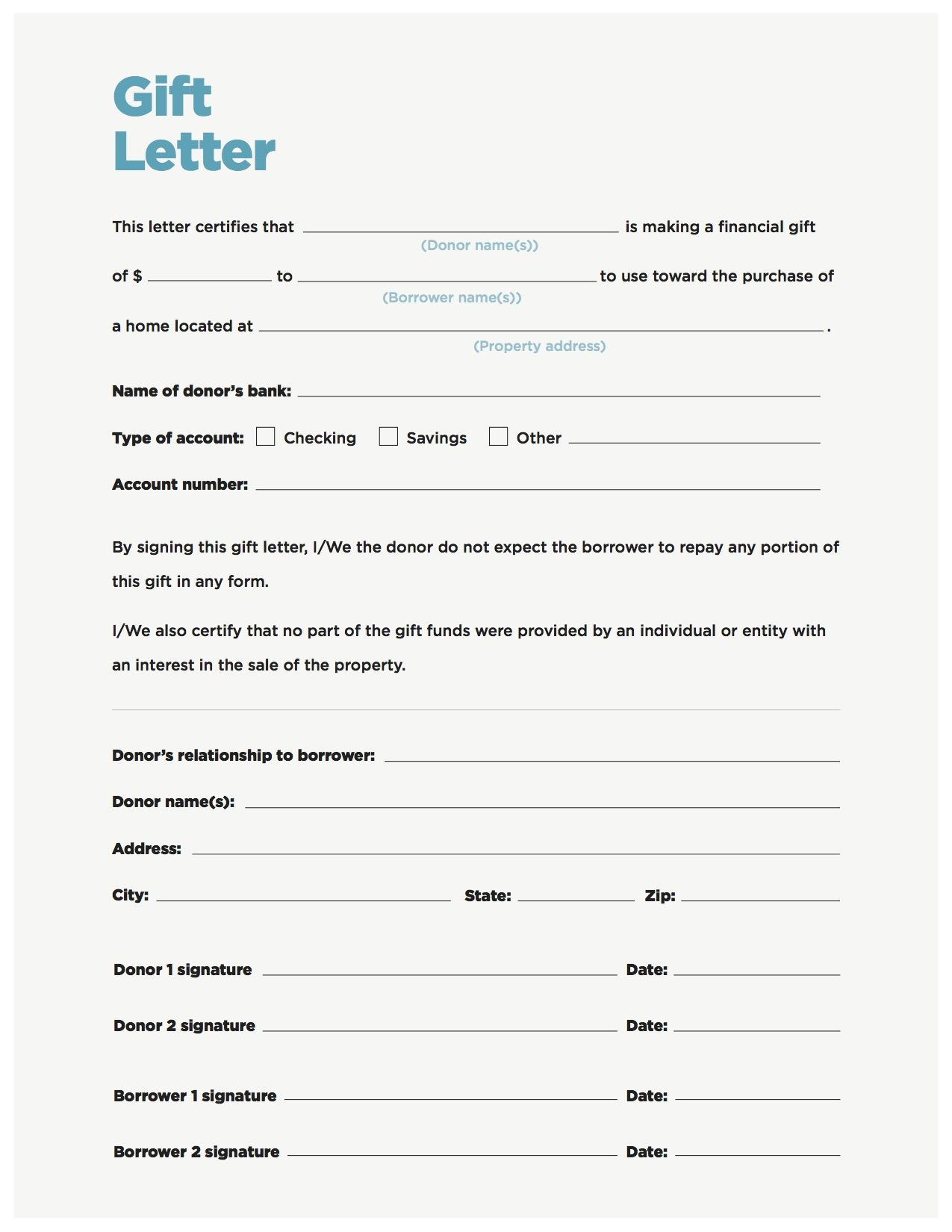 Gift Money Can Meet Your Down Payment Needs Letter Templates