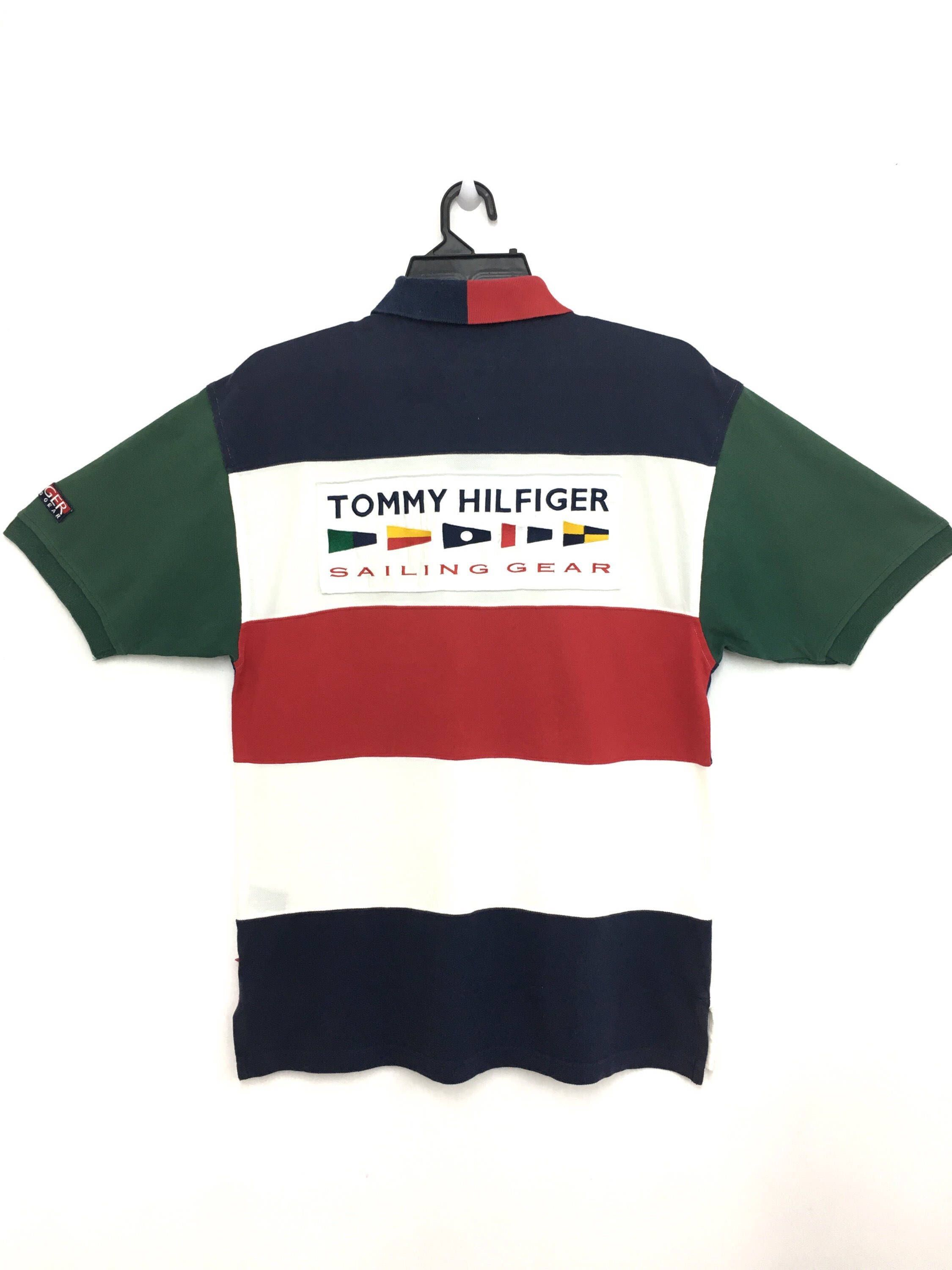 a73aa875ed2 Excited to share this item from my  etsy shop  Rare!! Vintage TOMMY  HILFIGER Sailing Gear Polo Shirt Block Color Large Size on tag