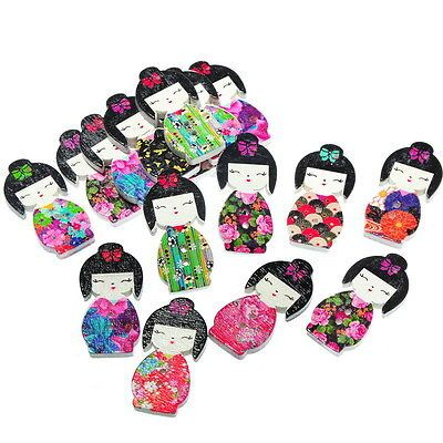 #50pcs 2 holes mixed #japanese doll wooden buttons fit sewing #scrapbook 3x1.5cm,  View more on the LINK: http://www.zeppy.io/product/gb/2/401013509645/