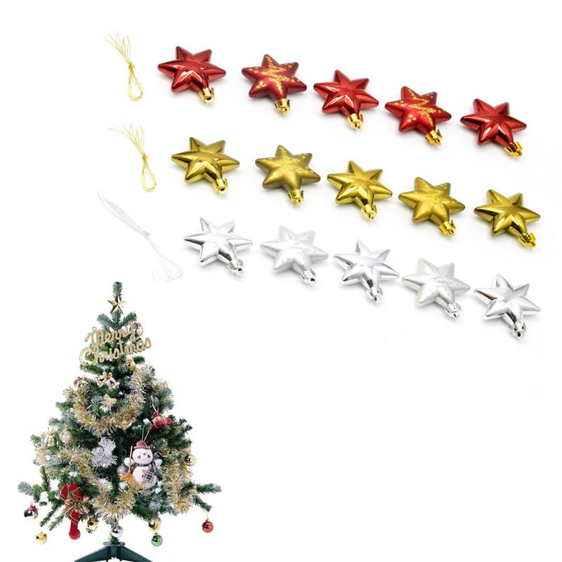 5PCS 3 Colors Choose Glitter Star Christmas Tree Topper Decoration