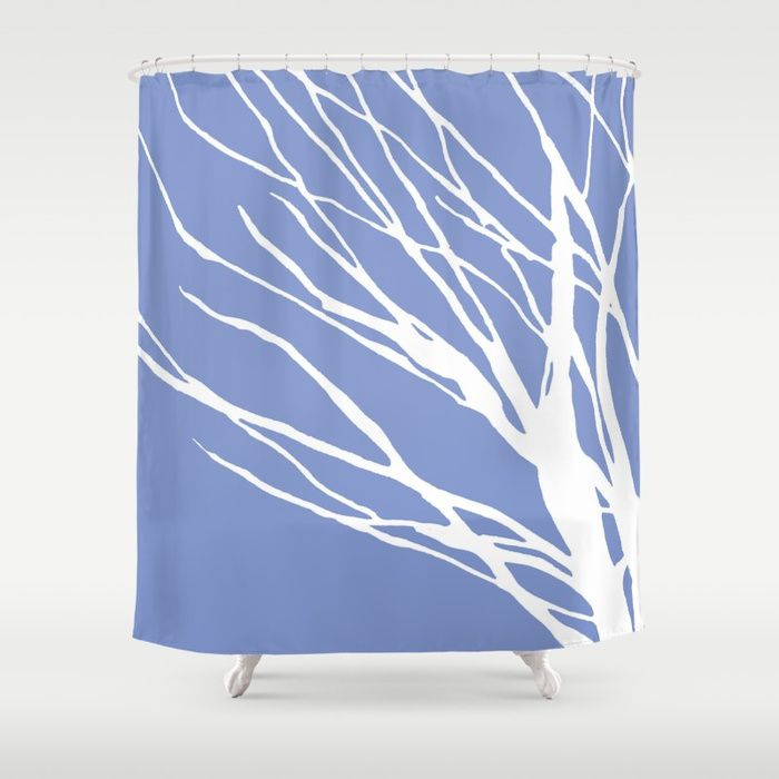 Tree Silhouette Periwinkle Blues Shower Curtain Periwinkle