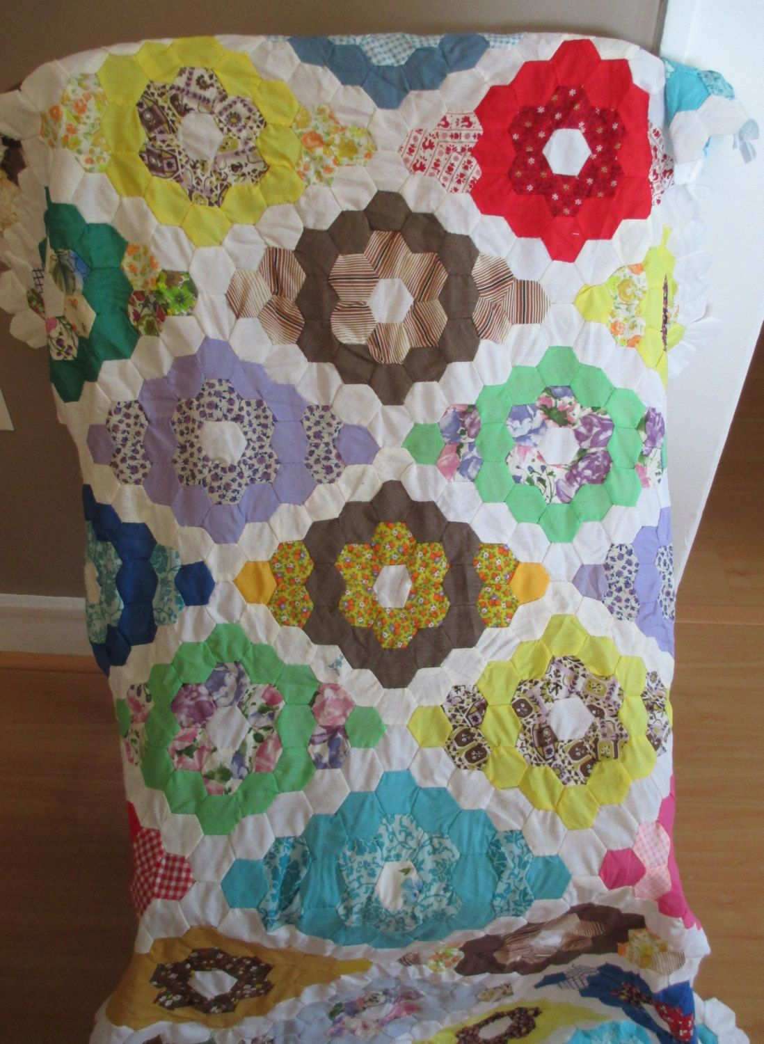 Flower Garden Hexagon Honeycomb unfinished Quilt top with additional ...