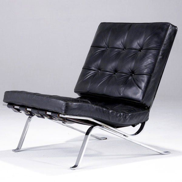 Robert Haussman; #RH301Chromed Metal and Leather Lounge Chair for Stendig, 1955.